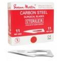 Skalpel - ostrze ze stali węglowej, sterylne Swann Morton nr 11, 100szt/op