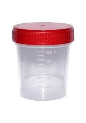 Pojemnik PP na mocz, z czerwoną niezakręconą zakrętką, niejałowy 120ml, 1szt.